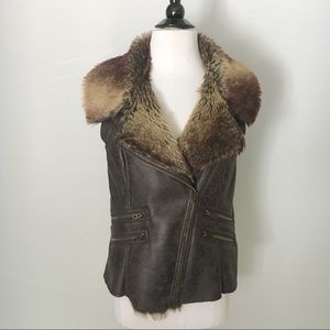 MO X MEMBERS ONLY Faux Fur & Leather Vest Size L